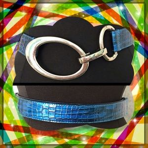 White House Black Market Blue Snakeskin Belt S/XS
